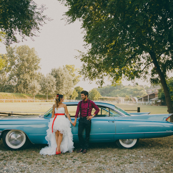 simona & stefano | 50's american Blue Cadillac themed wedding